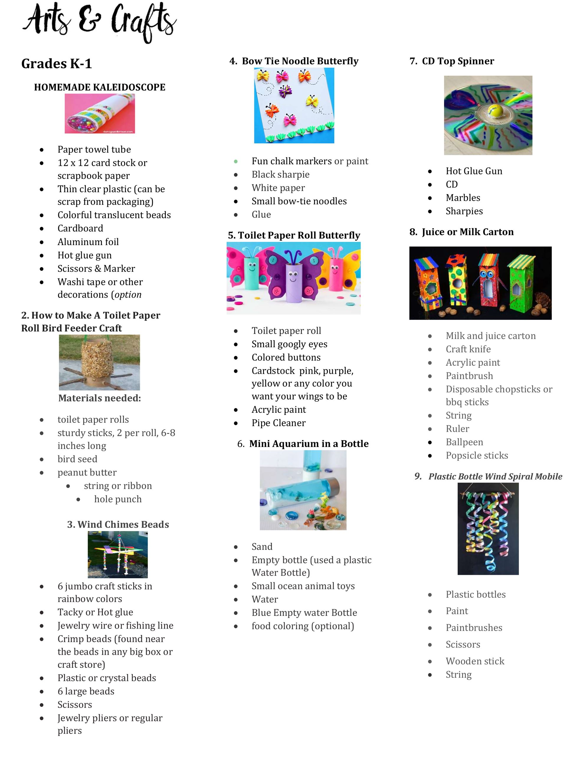Arts and Crafts Supplies List K to 1 page 1